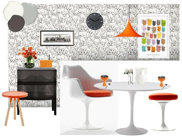 14 best rosie von design work images on pinterest boy for Orange and grey dining room