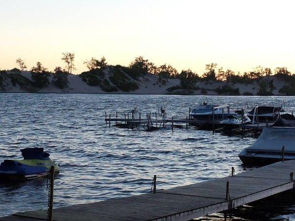 Dunes across the lake from Sandbanks Beach Resort, Prince Edward County, Ontario