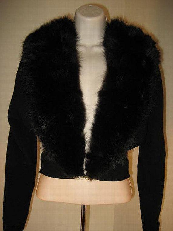 Mid Century Black Angora Sweater with Fur Collar by VintageVarla, $175.00