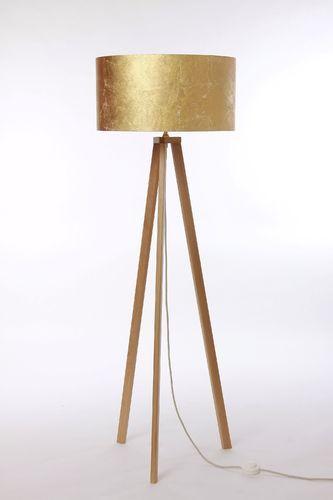 Stehleuchte 3-Bein, Eiche natur, Textilkabel beige, Lampenschirm Zylinder D.50 cm, Blattgold-Optik, Made in Germany