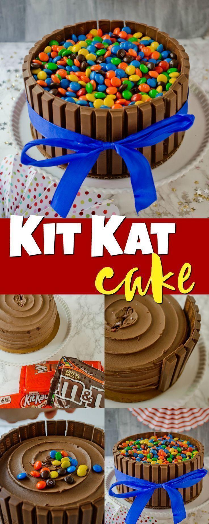 Ein schokoladenglasierter Kuchen, umgeben von Kit Kat Bars, garniert mit M & M …   – Cakes