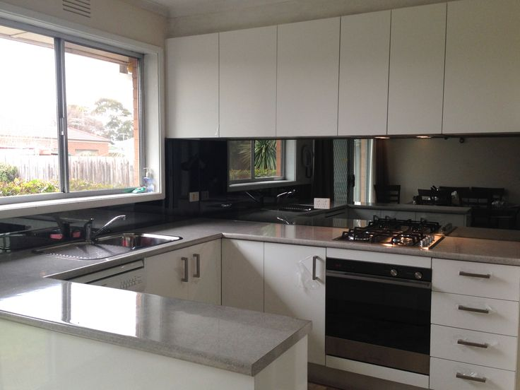 Grey ash toughened mirror from ultimate glass splashbacks Ultimate kitchen designs