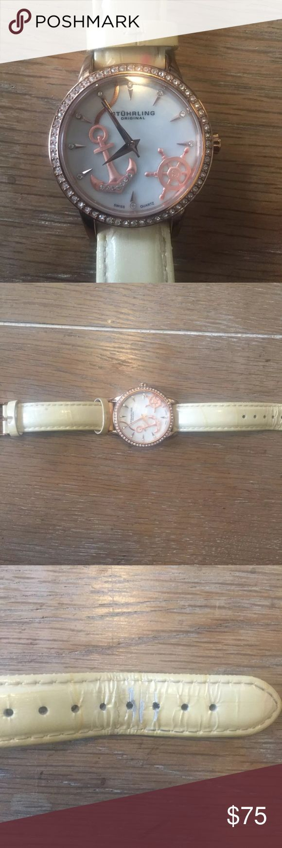Women's Stührling watch Rose Gold nautical details Women's Stührling anchor watch Rose Gold with nautical details Needs new battery Band is worn but functional Gorgeous piece with crystal detail Stuhrling Original Accessories Watches