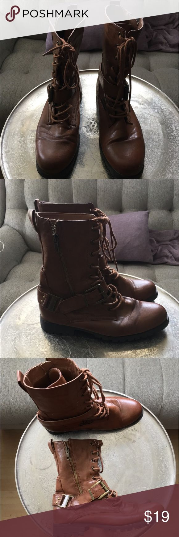 Women's combat boots Tan zipper combat boots / California drawn cactus on one side complimentary- hardly worn at all Forever 21 Shoes Combat & Moto Boots