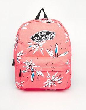 Vans Realm Backpack in Coral Floral Print