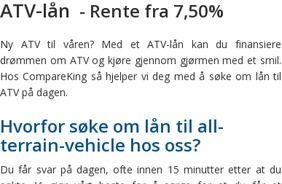 ATV lån - Lån penger til ATV på internett. Få svar på dagen.