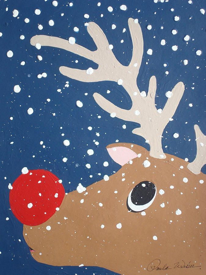 Rudolph The Red Nosed Reindeer Painting - Rudolph The Red Nosed Reindeer Fine Art Print