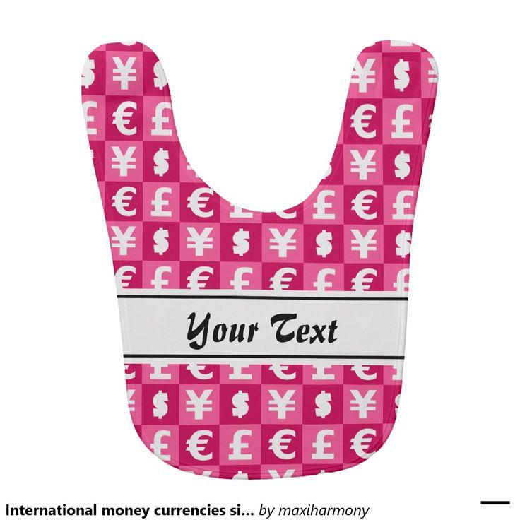 International money currencies signs pattern baby bib