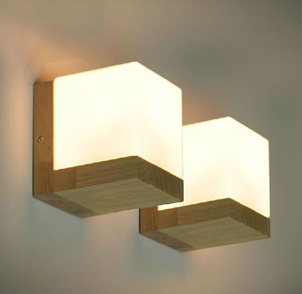 Details About Oak Wood Frame Wall Lamp Glass Cover Light Diy Lighting Home Cafe Comfort Simple