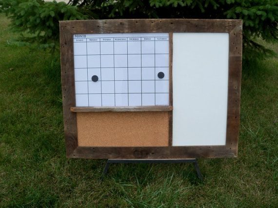 CUSTOM MADE -- Barnwood Framed Message Center with Magnetic Dry Erase  Calendar, Chalkboard or Dry Erase Board and Corkboard