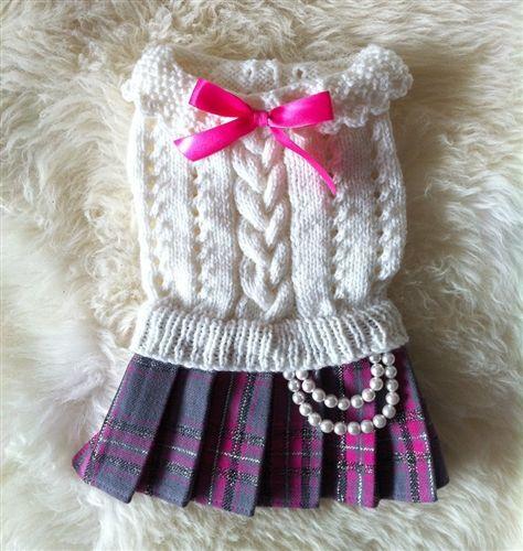 School Girl Dress Set - Apparel - Harness Dress Clothes Posh Puppy Boutique