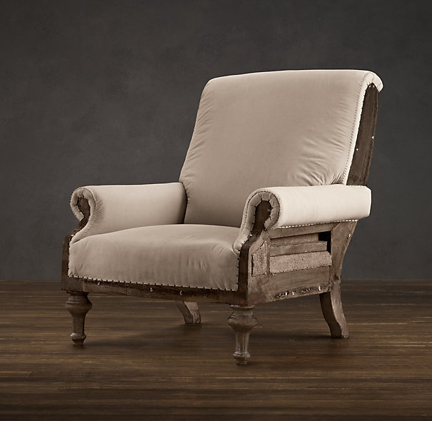 Deconstructed English Club Chair Antiqued Cotton Chairs