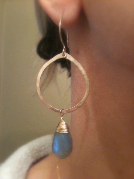 Gold Hoop Earrings Blue Labradorite by jamesmichellejewelry, $68.00