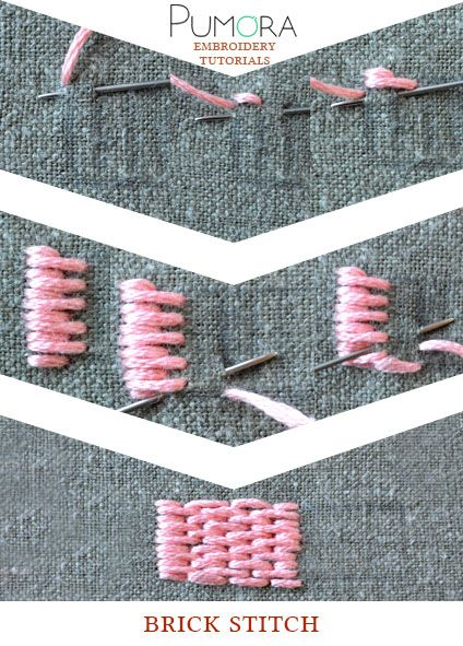 Pumora's embroidery stitch lexicon: the brick stitch, long and short stitch