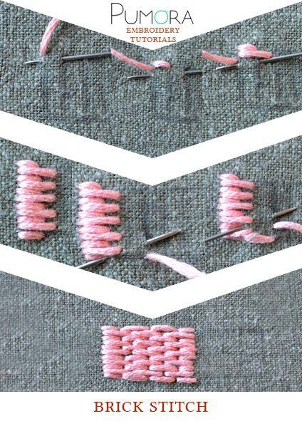 Pumora's embroidery stitch lexicon: the brick stitch, long and short stitch