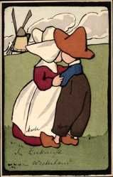 Artiste Cp Paar in niederländischer Tracht beim Kuss, Umarmung, Windmühle, Munk…