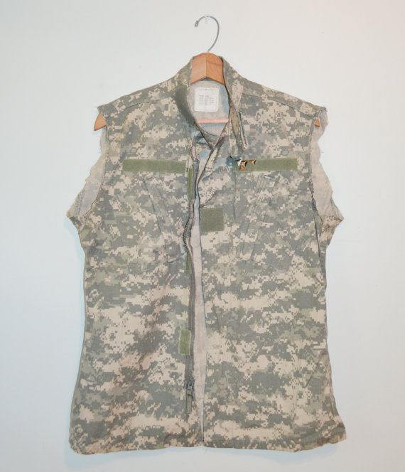 UpCycled Digital Camo Shirt Cut Off Shirt Vest by founditinatlanta, $27.00