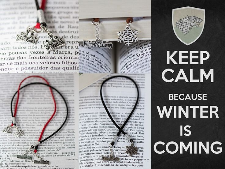 Game of Thrones bookmarks-Collection of 10 bookmarks, 5 different cord colors and 2 variations of charms (crown and snowflake). Status: Sold.
