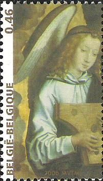 belgian stamps Christmas and Happy new year.Angels - Hans Memling
