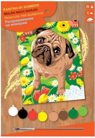 This charming Junior Paint by Numbers features a pre-printed Pug dog that can be painted using the 8 paints and brush provided. A great way to learn painting techniques, all you need to do is match the colour to the number on the board. What you are left with is an elaborate and beautiful painting to put on display! Great for beginners, pass the time with bright colours and an easy-to-follow guide to help you create the perfect image! Eight...
