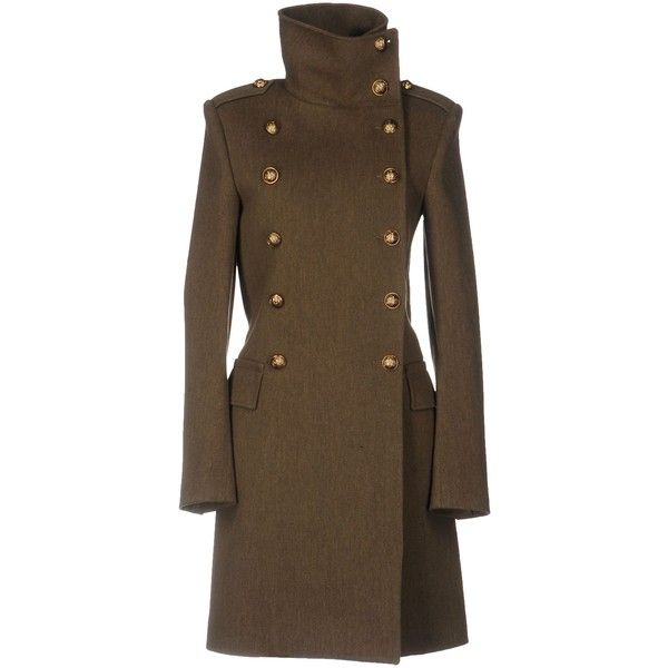 Balmain Coat ($2,104) ❤ liked on Polyvore featuring outerwear, coats, military green, turtleneck top, double-breasted wool coat, long sleeve turtleneck, brown turtleneck and olive wool coat
