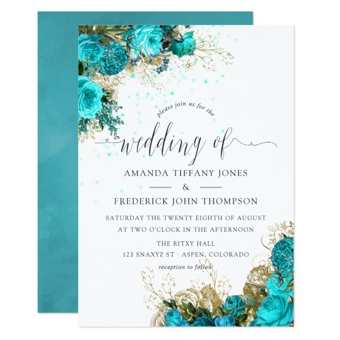 Vintage Turquoise And Gold Shabby Wedding Invitation Zazzle Com Turquoise Wedding Invitations Floral Wedding Invitations Gold Bridal Showers