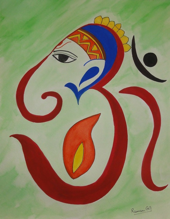 Water colour paintings of Ganesha, symbol of good luck on ...