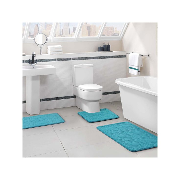 Vcny Byzantine 3-pc. Memory Foam Bath Rug Set, Blue