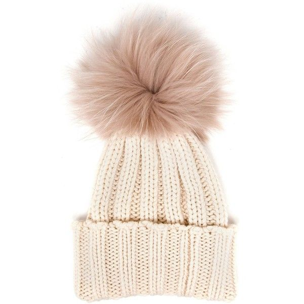 Inverni Cashmere and Fur Beanie (24770 RSD) ❤ liked on Polyvore featuring accessories, hats, beanie, hair accessories, white, fur pom-pom hats, cashmere hat, white hat, white pom pom hat and beanie cap