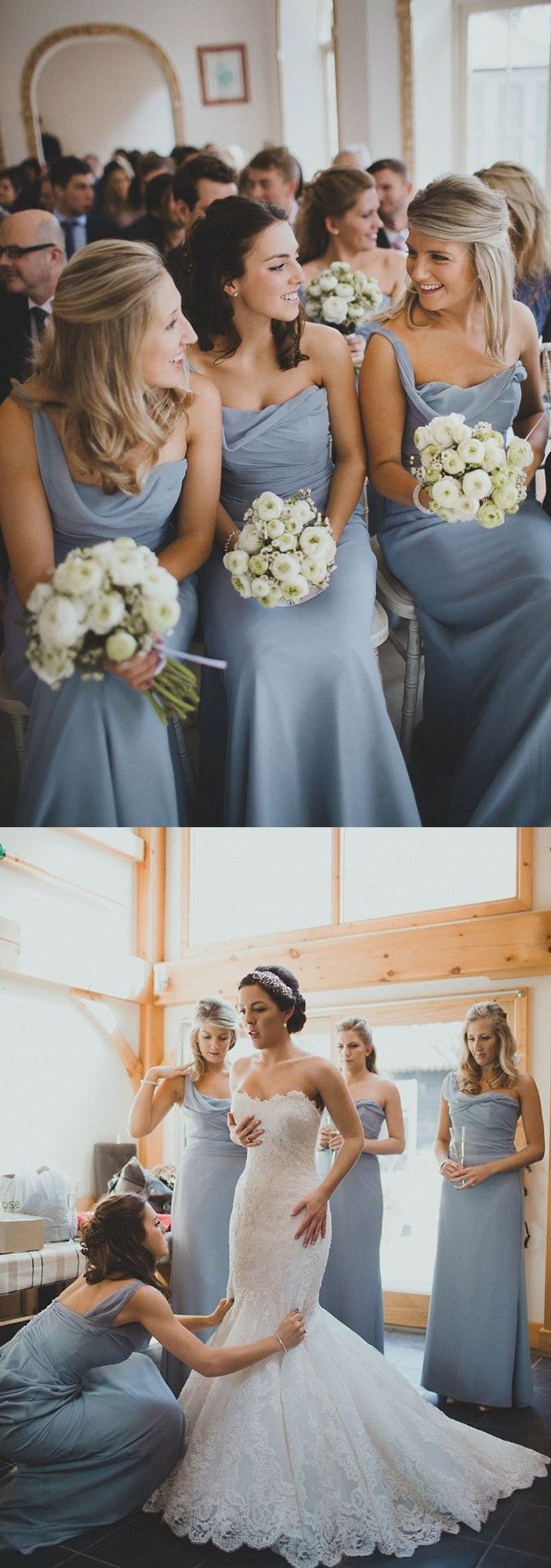 2016 wedding dresses, one shoulder bridesmaid dress, wedding party dress, long…