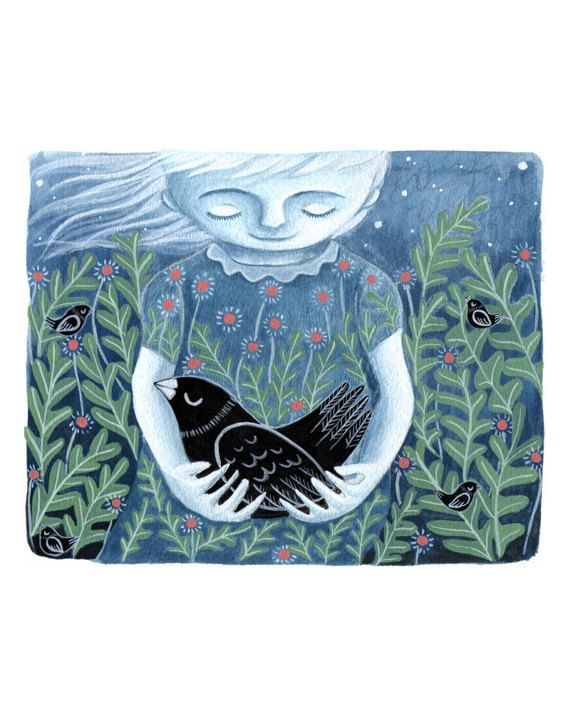 Taking Care of Nature gouache illustration - giclee art print
