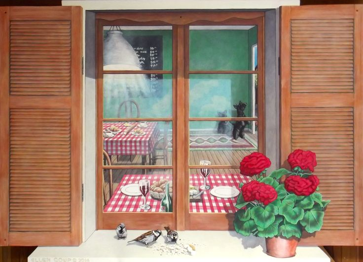 110cm x 153cm 'Window' with shutters, sparrows and geranium.