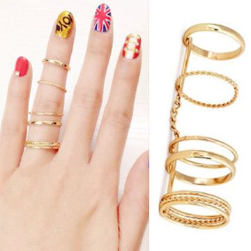 New Personalized Gold Jointed Loops Ring Hollow Chain Full finger Rings for Women 1D1020