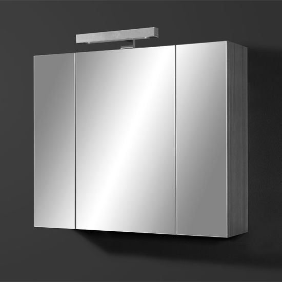 Juliana Mirrored Bathroom Cabinet In Carbon Ash Gloss White 29995 Bathroomcabinet Furnitureinfashion