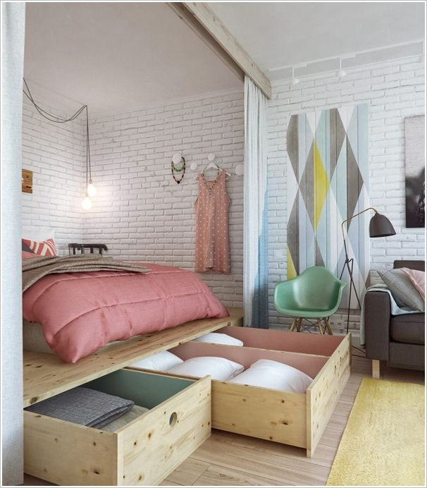 I love this for the storage and for the curtain that can be pulled across to enclose the bed when company comes over.