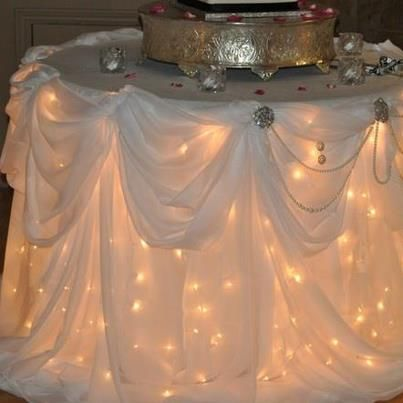 Under the tablecloth lights for our wedding cake!