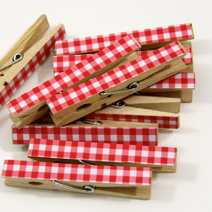 Clothespins Set of Ten Red Gingham by ThePaperedCrown on Etsy