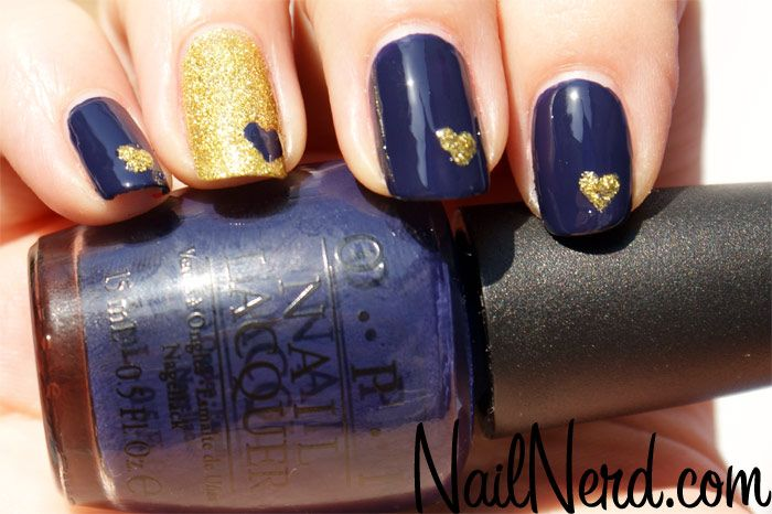 Nail Nerd (nail art for nerds) » Blue and Gold Love Nails