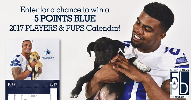 Enter for a Chance to Win a Dallas Cowboys Players & Pups 2017 Calendar - 5 Points Blue