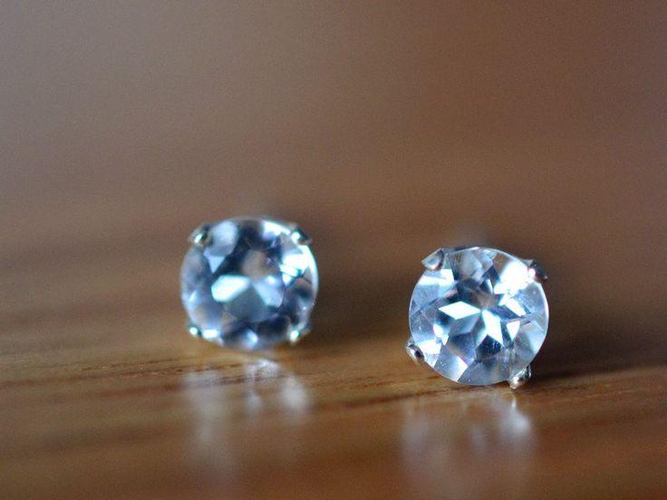 5mm White Topaz & Silver Post Earrings, Natural Gemstone Studs