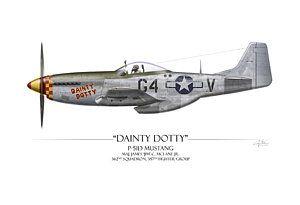 Покраска самолетов - изящный Дотти Р-51d Мустанг - белом фоне Крейга трут