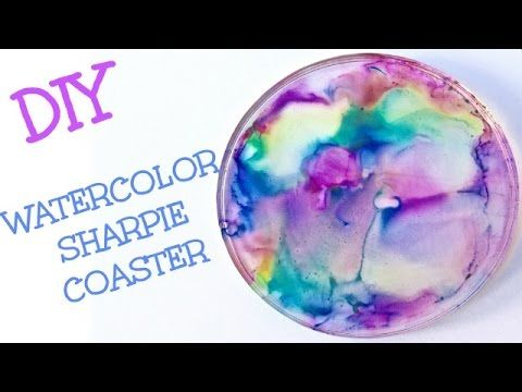 DIY Watercolor Sharpie Coasters Craft Klatch Another Coaster Friday - YouTube