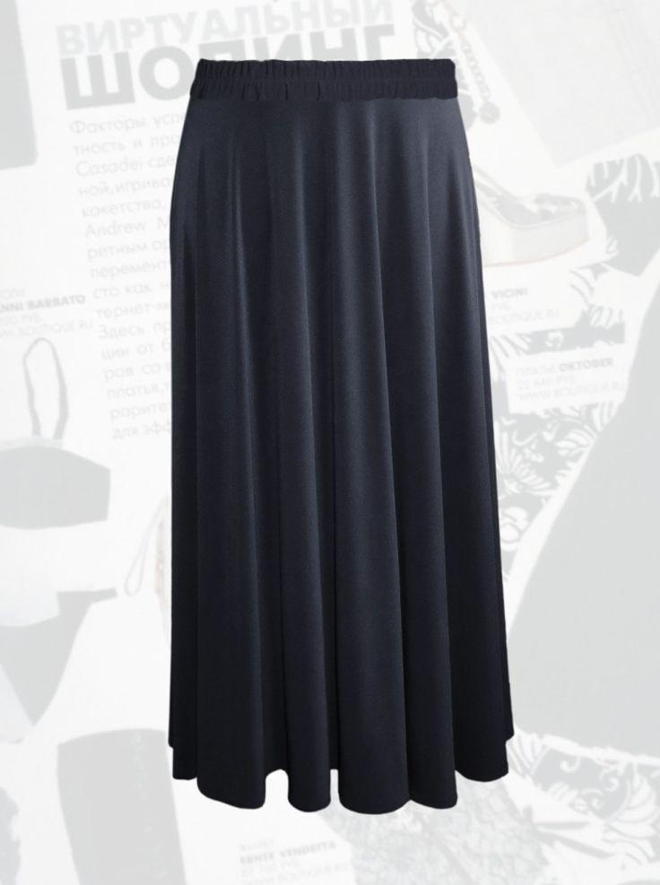 26$ Трикотажная юбка макси черного цвета 1/2 солнце клеш большого размера Артикул 860, р50-64