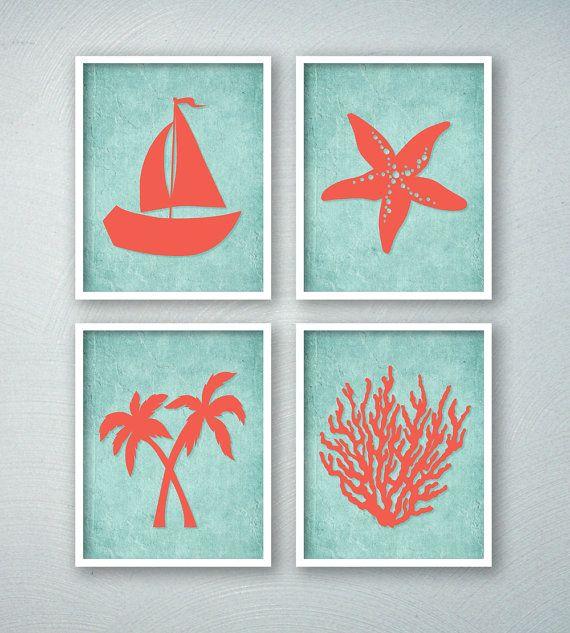 Tropical Bathroom Decor - Tropical Bath Art Prints - Beach Bathroom Wall Art - Saiboat Palm Trees Starfish Coral - Aqua Bathroom Decor
