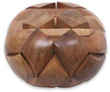 Advertisement - Very interesting and unique.  Big Pillow Javanese Artisan Crafted Wooden Block Puzzle