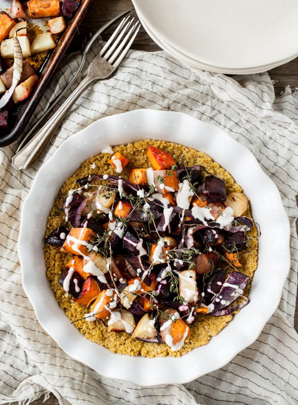 Root Vegetable Pie with Quinoa Crust & Cashew Cream - Dishing Up the Dirt