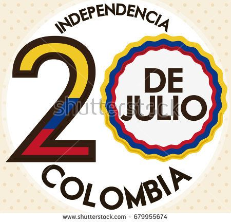 Patriotic design with reminder date for Colombia Independence Day (written in Spanish) made out of Colombian flag colors.