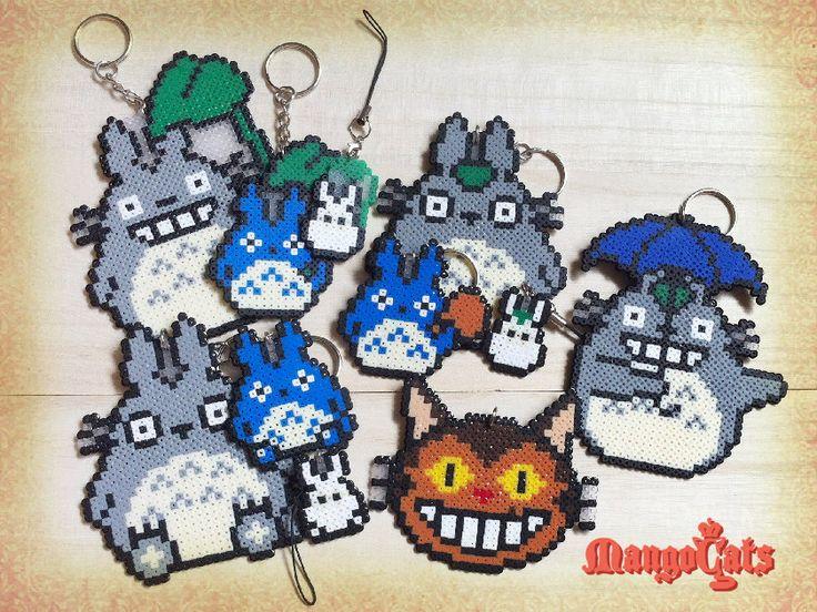 Totoro hama bead sprites (Totoro, nekobasu, cat bus) by MangoCats (4.50 USD) http://ift.tt/1cYT3Gh