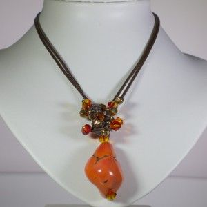 Leather necklace with a semi precious stone and Swarovski crystals