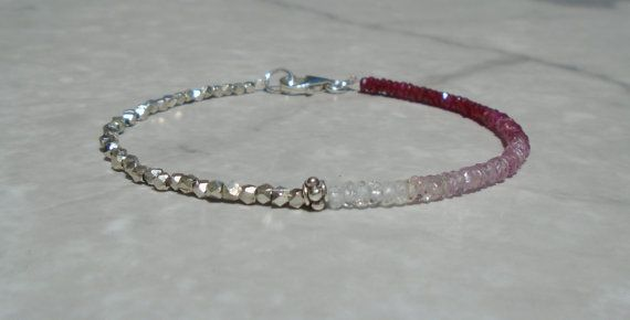Free Shipping (within US only) on Orders $60 and Over!  - Made with high quality shaded pink sapphire, longido ruby, moonstone beads, and Karen Hill Tribe Silver beads (which has higher silver content than sterling silver). All gemstone has amazing sparkles.  - Longido ruby, the best of best, has beautiful shine and color. All natural. Not dyed or treated.  - The same bracelet with herkimer diamond in the center instead of bali silver is available here. https://www.etsy.com/lis...